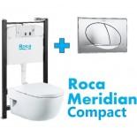 Комплект инсталляция, клавиша и подвесной унитаз Roca Meridian Compact, микролифт, 893104110