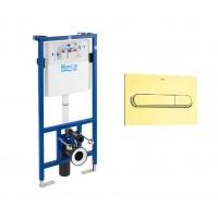Инсталляция для подвесного унитаза ROCA DUPLO WC с золотой клавишей PL1, 890090020+890095001DO