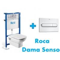 Комплект инсталляция,клавиша PL1 и подвесной унитаз DAMA SENSO, микролифт, 89009000K+890095001+346517000+ZRU9000041