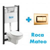 Комплект инсталляция,золотая клавиша и подвесной унитаз ROCA MATEO, микролифт, 893100010 DO