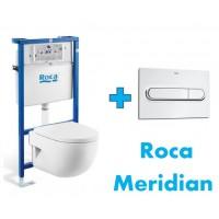 Комплект инсталляция,клавиша PL1 и подвесной унитаз ROCA MERIDIAN COMPACT, микролифт, 89009000K+890095001+346248000+8012AC004