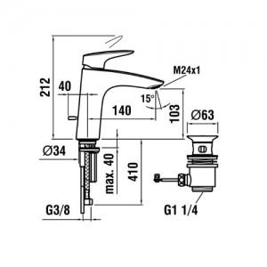 Смеситель для раковины LAUFEN CURVEPLUS, излив 140 мм, 3.1109.1.004.121.1