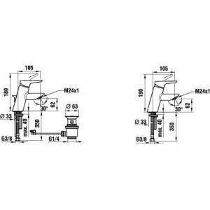 Смеситель для раковины LAUFEN TWINPRO 3.1150.1.004.110.1