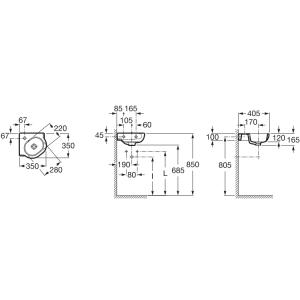 Угловая раковина ROCA MERIDIAN, 35х35 см, 32724C000