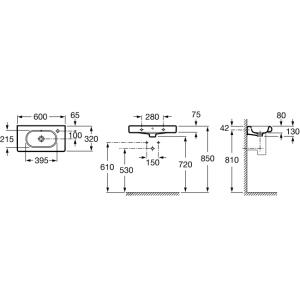 Раковина ROCA MERIDIAN, с отверстием для смесителя справа, 60см, 32724T000
