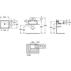 Раковина ROCA ELEMENT,  без отверстия для смесителя, 60см, 327570000
