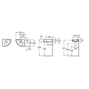 Угловая раковина ROCA HALL 43х35см, левая, 327623000