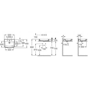 Накладная раковина ROCA HALL без отверстия для смесителя, 52 см, 327882000