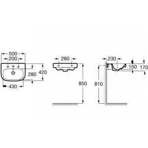 Раковина ROCA DEBBA, с отверстием для смесителя, 50см, 32799600Y