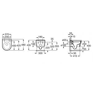 Компактный безободковый подвесной унитаз ROCA INSPIRA ROUND Compact Rimless, с сидением микролифт, 346528000+80152C00B