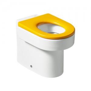 Напольный детский унитаз ROCA HAPPENING с желтым сидением, микролифт, 347115000+801116714