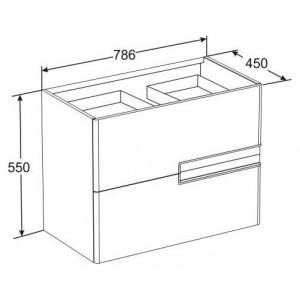 Комплект мебели ROCA VICTORIA NORD BLACK EDITION, черный глянец , 80 см,тумба+раковина+зеркальный шкаф, ZRU9000097+32799C000+ZRU9000100