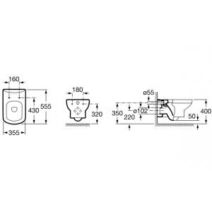 Подвесной унитаз ROCA DAMA SENSO, микролифт, 346517000+ZRU9000041