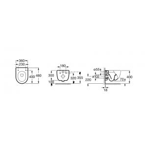Комплект инсталляция, золотая клавиша PL6 и подвесной унитаз ROCA MERIDIAN COMPACT, микролифт, 890090020+890085001DO+346248000+8012AC004
