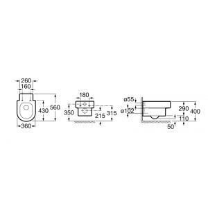 Подвесной унитаз ROCA HAPPENING, микролифт, 346567000+ 801562004