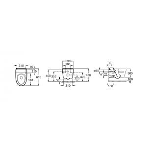 Подвесной унитаз ROCA KHROMA, с красным сидением, микролифт, 346657000+ 801652F3T