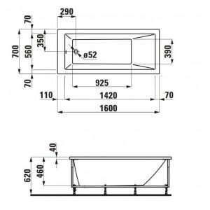 Акриловая ванна LAUFEN PRO 160х70 для правого угла, 2.3395.5.000.000.1