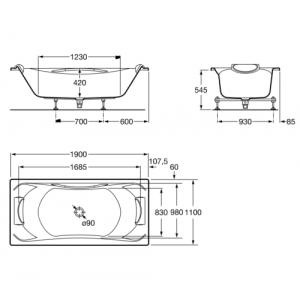 Акриловая ванна ROCA BECOOL 190x110, с ручкой, сливом и ножками, 247989001