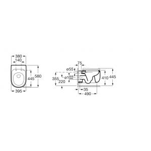 Подвесной безободковый унитаз Roca Beyond, микролифт, 3460B7000 + 801B8200B