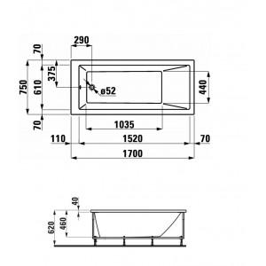 Акриловая ванна LAUFEN PRO 170х75 для левого угла, 2.3195.6.000.000.1