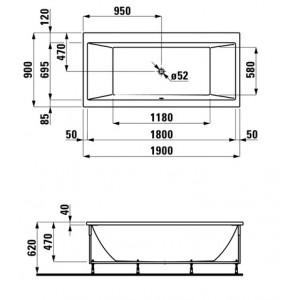 Акриловая ванна LAUFEN PRO 190х90 для правого угла, 2.3495.5.000.000.1
