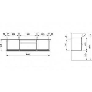 Тумба Laufen Case с раковиной Laufen Palace, белый матовый, 150 см, 4.0135.2 + 8.1170.6
