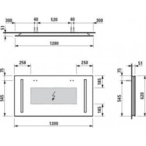 Зеркало Laufen Case, с подсветкой и сенсорным выключателем, 120см, 4.4726.6