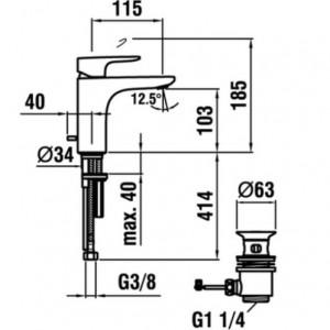 Смеситель для раковины LAUFEN CITYPLUS, излив 115мм, 3.1175.1.004.111.1