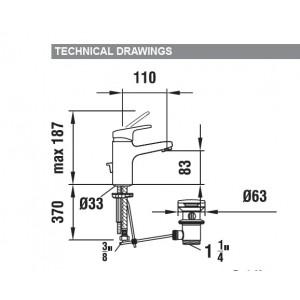 Смеситель для раковины LAUFEN CITYPRO 3.1195.1.004.111.1