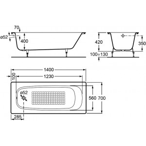 Чугунная ванна ROCA CONTINENTAL 140X70 с ножками, 212914001+150412330