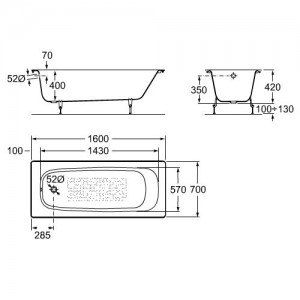 Чугунная ванна ROCA CONTINENTAL 160X70 с ножками, 21291200R+150412330