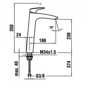 Высокий смеситель для раковины LAUFEN CURVEPLUS, 3.1109.8.004.130.1