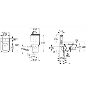 Напольный компактный унитаз ROCA DAMA Compact, монолитный бачок, с сидением микролифт, 34278W000+341784000+80178C004