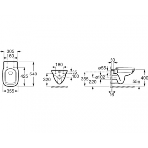Подвесной унитаз ROCA DEBBA, с сидением микролифт, 346997000+ZRU9302826