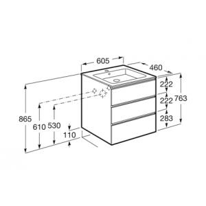 Тумба с раковиной Roca Gap, 3 ящика, белый, 60 см, 857552806 + 3279A8000