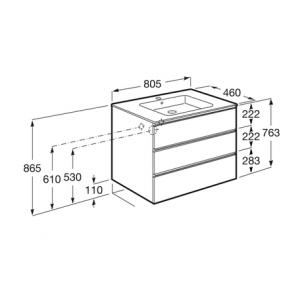 Тумба с раковиной Roca Gap, 3 ящика, белый, 80 см, 857553806 + 3279A4000