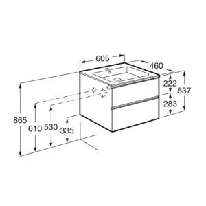 Тумба с раковиной Roca Gap, 2 ящика, белый, 60 см, 857550806 + 3279A8000