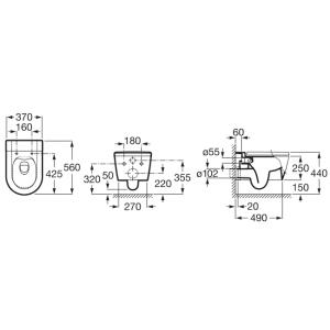 Безободковый подвесной унитаз ROCA INSPIRA ROUND, с сидением микролифт, 346527000+80152200B