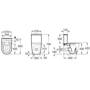 Напольный компактный унитаз ROCA INSPIRA ROUND, с сидением микролифт, 342529000+341520000+80152C00B