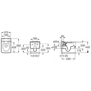 Безободковый подвесной унитаз ROCA INSPIRA SQUARE RIMLESS, с сидением микролифт, 346537000+80153200B