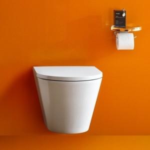 Комплект инсталляция+клавиша LAUFEN и подвесной безободковый унитаз Kartell by Laufen 8.2033.6 с сидением микролифт