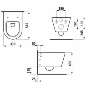 Комплект инсталляция+клавиша LAUFEN и подвесной унитаз Kartell by Laufen 8.2033.1 с сидением микролифт
