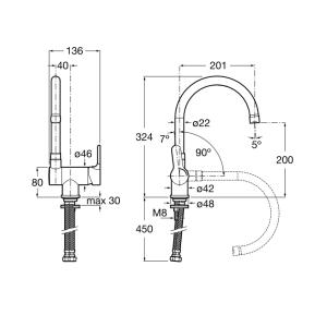 Складной смеситель для кухни ROCA L20 5A8209C00
