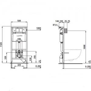 Комплект инсталляция,клавиша LAUFEN , компактный безободковый унитаз LAUFEN PRO RIMLESS 2096.5 с сидением микролифт