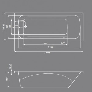 Акриловая ванна ROCA LINE 170x70, ZRU9302924+ZRU9302925