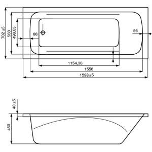 Акриловая ванна ROCA LINE 160x70, ZRU9302985+ZRU9302986