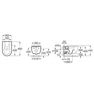 Подвесной безободковый унитаз Roca Meridian Rimless, микролифт, 34624L000+8012A200B