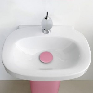 Раковина с пьедесталом Laufen Mimo, бело-розовая, 60см, 8.1155.3+8.1955.0