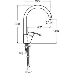Смеситель для кухни ROCA MONODIN, с высоким изливом, 5A8407C00