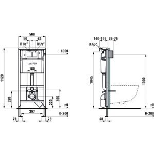 Комплект Pack Laufen Pro Rimless, 8.6996.6.000.000.R
